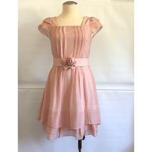 Peach colour light weight chiffon Dress Size: XS